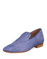 Donald J Pliner Men's Pazano Woven Straw Loafer Blue