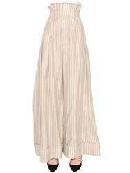 Jacquemus Wide Linen And Wool Blend Striped Pants