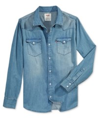 Levi's Men's Standard Barstow Western Long Sleeve Denim Shirt Medium Wash