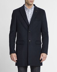 Scotch And Soda Navy Blue Blend Classic Wool Coat