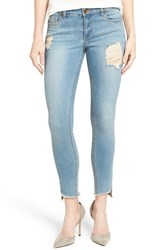 Kut From The Kloth Women's Frayed Hem Stretch Distressed Skinny Jeans