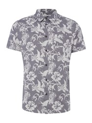 Criminal Morris Short Sleeve Print Shirt Grey