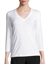 Lafayette 148 New York Swiss Stretch Cotton V Neck Tee White Black