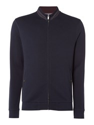 Linea Men's Metz Interlock Zip Through Funnel Neck Sweat Navy
