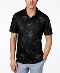 Tasso Elba Men's Big And Tall Paradise Floral Print Polo Only At Macy's Black Combo