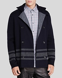 Vince Wool Stripe Pea Coat Coastal Black