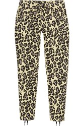 Sibling Leopard Print Lace Up Mid Rise Slim Leg Jeans Pastel Yellow Leopard Print