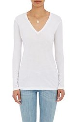 Barneys New York V Neck Long Sleeve T Shirt White