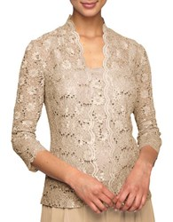 Alex Evenings Sequined Lace Twinset Champagne