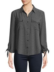 Jones New York Tie Sleeve Button Down Shirt Black