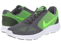 Nike Revolution 3 Dark Grey Electric Green Black White Men's Running Shoes Gray
