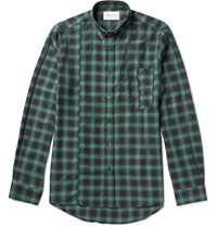 Public School Retor Slim Fit Button Down Collar Checked Cotton Twill Shirt Green