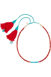 Aura Lie Bidermann Gold Plated Turquoise Coral Bamboo And Shell Necklace