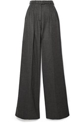 Gabriela Hearst Vargas Belted Brushed Cashmere Wide Leg Pants Dark Gray
