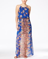 City Triangles Juniors' Printed Maxi Dress Blue