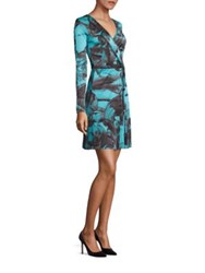 Versace Paisley Wrap Dress Teal Print