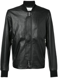 Officine Generale Leather Bomber Jacket Men Leather Acetate Viscose M Black