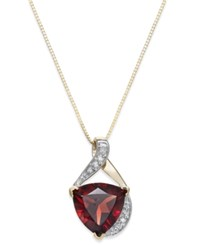 Macy's Rhodolite Garnet 3 5 8 Ct. T.W. And Diamond Accent Swirl Pendant Necklace In 14K Gold Yellow Gold