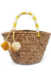 Kayu St Tropez Mini Pompom Embellished Embroidered Woven Straw Tote Yellow