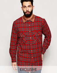 Reclaimed Vintage Oversized Check Shirt With Cord Collar Redcheck