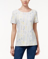 Jm Collection Printed Short Sleeve Top Only At Macy's Yellow Maze