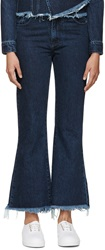 Marques Almeida Blue Denim Cropped Flared Jeans