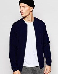 Adpt Knitted Zip Up Bomber Navy Blue