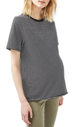 Topshop Women's Breton Stripe Nibbled Maternity Tee Black Multi