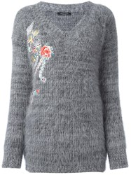 Roberto Collina Floral Embroidery Jumper Grey