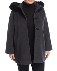 Cinzia Rocca Toggle Coat With Detachable Fur Trim Hood Charcoal