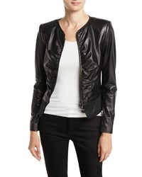 Emporio Armani Slim Ruched Leather Zip Front Jacket Black