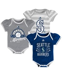Majestic Baby Girls' Seattle Mariners 3 Piece Bodysuit Set