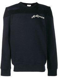 Alexander Mcqueen Logo Embroidered Sweatshirt Blue
