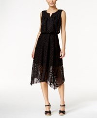 Styleandco. Style And Co. Split Neck Crochet Dress Only At Macy's Deep Black