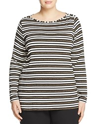 Marina Rinaldi Vairone Striped Jersey Tee White