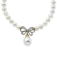 Macy's 14K Gold Necklace Cultured Freshwater Pearl And Diamond Bow 1 4 Ct. T.W.
