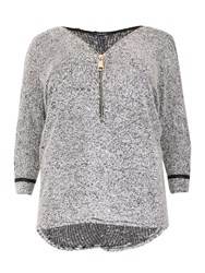 Samya Plus Size Batwing Textured Tunic Top Grey