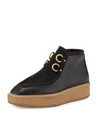 Stella Mccartney Faux Suede Faux Leather Clipper Boot Black