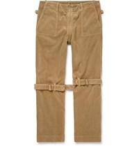 Human Made Buckle And Zip Detailed Cotton Corduroy Trousers Neutrals