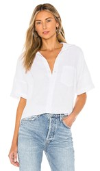 Frank And Eileen Short Sleeve Button Down Top In White. White Linen
