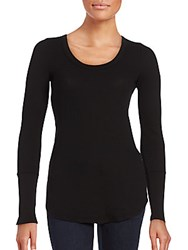 Splendid Solid Scoopneck Tunic Black