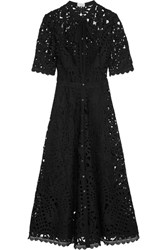 Temperley London Berry Pussy Bow Guipure Lace Midi Dress Black