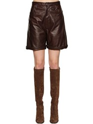 Etro High Waisted Leather Shorts Dark Brown