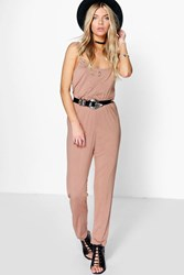 Boohoo Cami Style Jumpsuit Camel