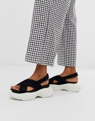 Bershka Crossover Sandals On Chunky Sole In Black