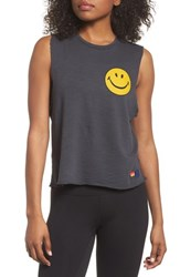 Aviator Nation Smiley Muscle Tee Vintage Coal