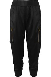 Atm Anthony Thomas Melillo Silk Satin Tapered Track Pants Black