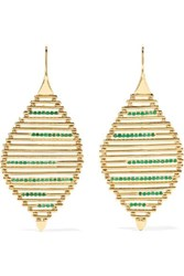 Ileana Makri Grass Seed 18 Karat Gold Emerald Earrings