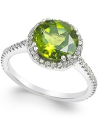 Macy's Peridot 2 1 2 Ct. T.W. And Diamond 1 4 Ct. T.W. Ring In 14K White Gold