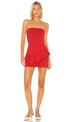 Susana Monaco Strapless Cross Ruffle Dress In Red. Morello